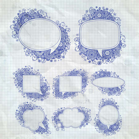 hand drawn floral design bubbles. Vector