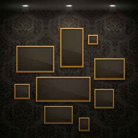 art gallery interior: Golden frames on the wall. Vintage background.