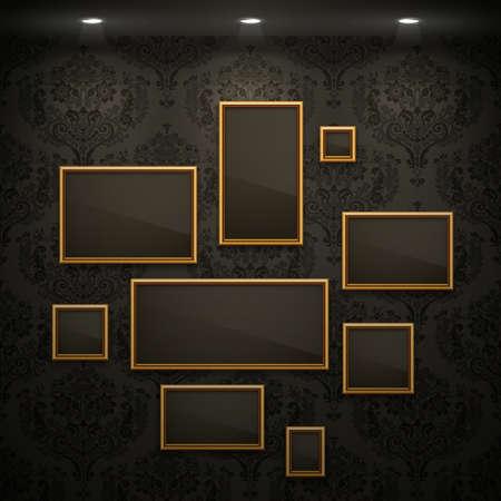 Golden frames op de muur. Vintage achtergrond. Vector Illustratie