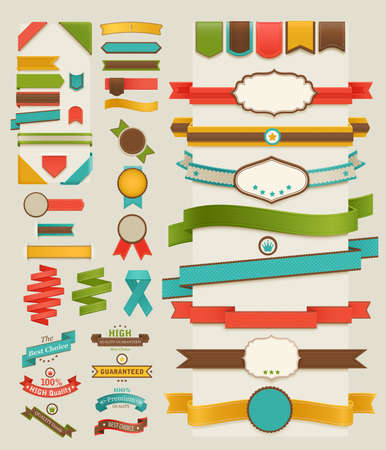 Set of retro ribbons and labels. illustration. Vector