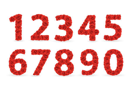Red Roses numbers. Check my portfolio for roses letters. Vector