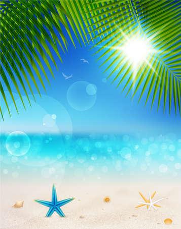 모래, 조개와 야자수 잎 화창한 날에 아름 다운 해변보기. 여름 휴가 배경. 일러스트
