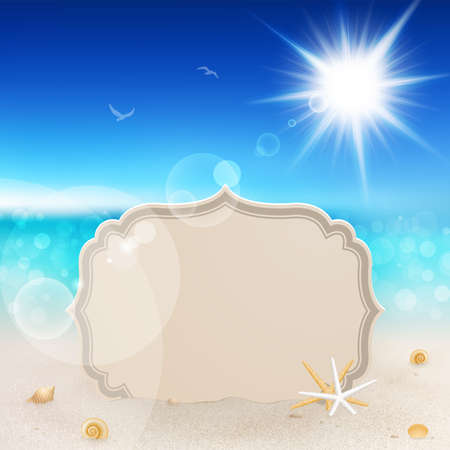 tropical background: Beautiful seaside view with vintage greeting card, sand and