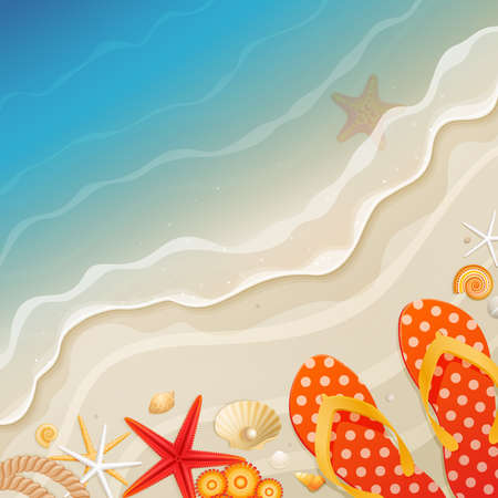 starfish beach: Holiday greeting card with wave and shells  illustration