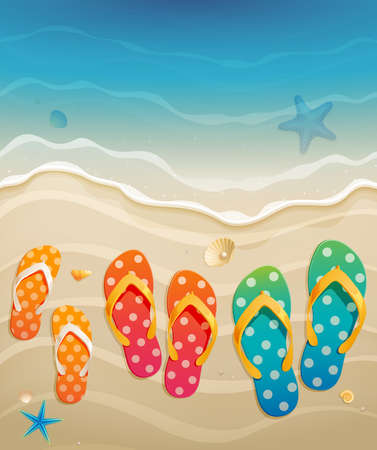 paradise beach: Holiday greeting card with family flip-flops illustration