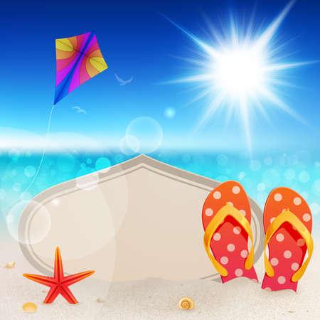 빈티지 카드, 모래와 플립 플롭을 가진 아름 다운 해변보기 일러스트