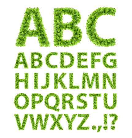 Green Leaves font  Vector illustration  Vector