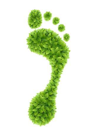 icono ecologico: El verde deja huella ilustraci�n Eco friendly