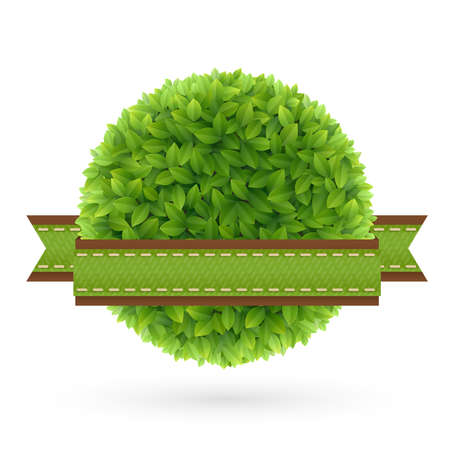 green leaves: Eco Friendly label  Green leaves   illustration