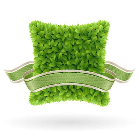 Bio concept label  Green leaves   illustration Stock Vector - 14749097