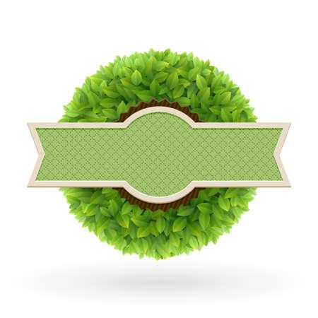 Organic food label  Green leaves illustration  Vector
