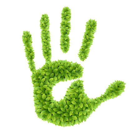 our: Green leaves hand  Eco Friendly Vector illustration