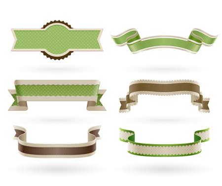 スクラップブッキング: レトロなエコのセット リボン ベクトル イラスト  イラスト・ベクター素材