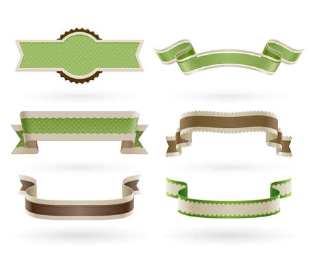 ecology emblem: Set of retro Eco ribbons  Vector illustration