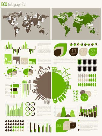 Green energy and ecology Infographic set with charts and other elements. Vector