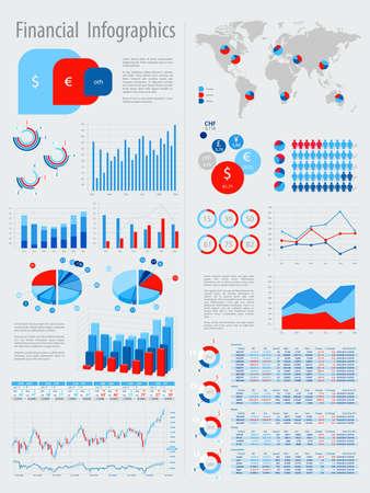 demographic: Infografica finanziario impostato con grafici e altri elementi. Illustrazione vettoriale.