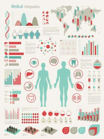 genetica: Infografica Medical set con grafici e altri elementi. illustrazione. Vettoriali