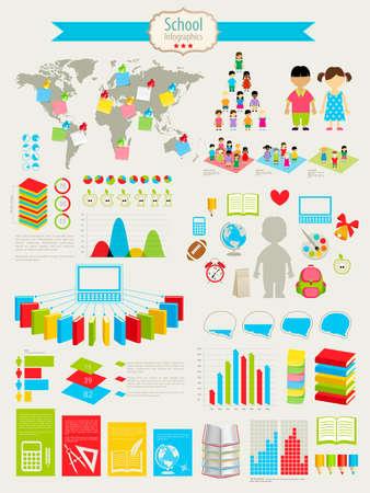 образование: Снова в школу инфографики комплекте с диаграммами и другими элементами. иллюстрации.