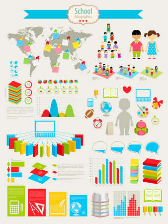 Back to school Infographic set with charts and other elements. illustration. Vector