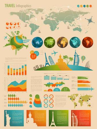 viaggi: Set da viaggio Infographic con grafici e altri elementi. Illustrazione vettoriale. Vettoriali