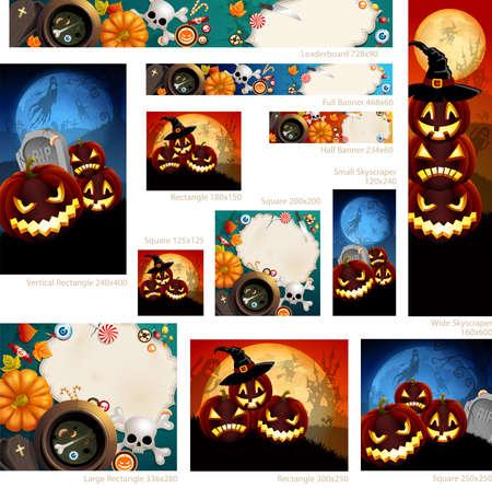 place for text: Colecci�n de banners de Halloween con lugar para el texto.