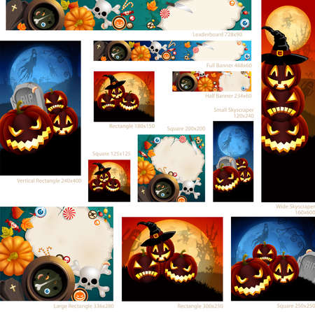 Collection of Halloween banners with place for text. Vector
