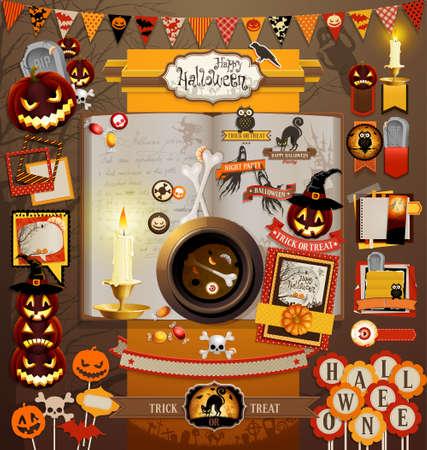 tratar: Elementos do scrapbook do Dia das Bruxas