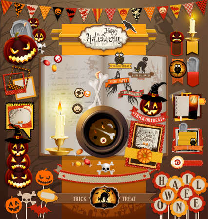 halloween party: Halloween scrapbook elements