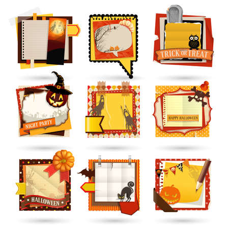 Halloween Paper notes. Scrapbooking elements. Vector