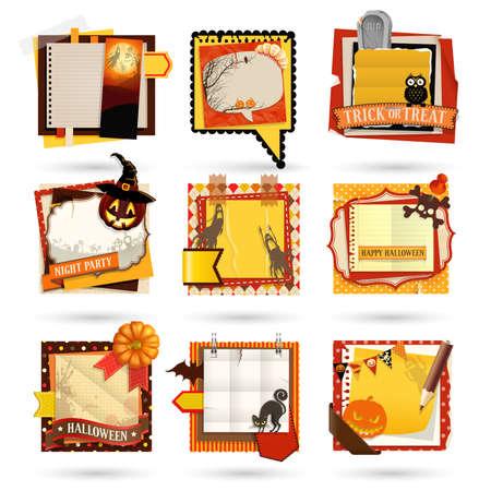 Halloween Paper notes. Scrapbooking elements. Stock Vector - 15602735