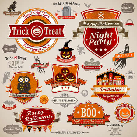 Halloween vintage set - labels, ribbons and other decorative elements Vector