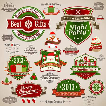 Christmas vintage set - labels, ribbons and other decorative elements  Vector