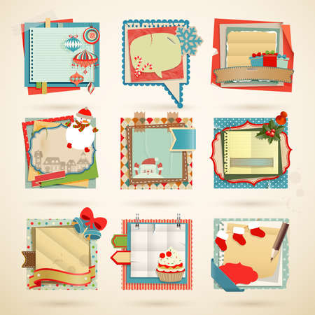 Christmas Paper notes. Scrapbooking elements Vector
