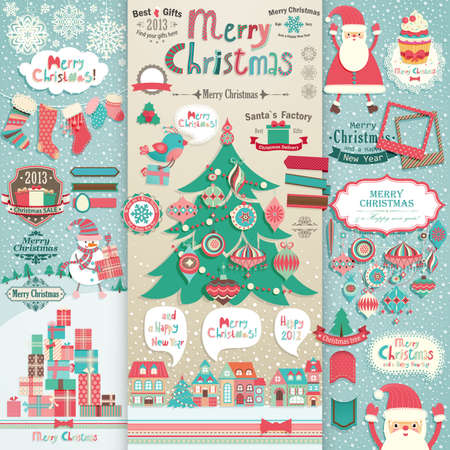 Christmas scrapbook elements.   Vector