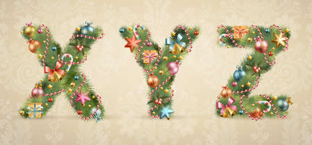 heading the ball: Christmas tree font with baubles - vintage style.  Illustration