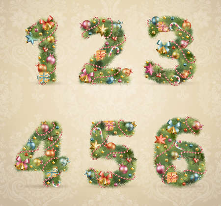 Christmas tree font with baubles - vintage style.   Vector