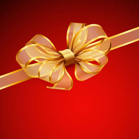 Christmas card - Golden transparent bow.   Vector