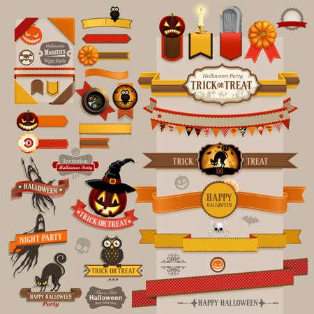 calabazas de halloween: Conjunto de cintas retro de Halloween - Elementos del libro de recuerdos.