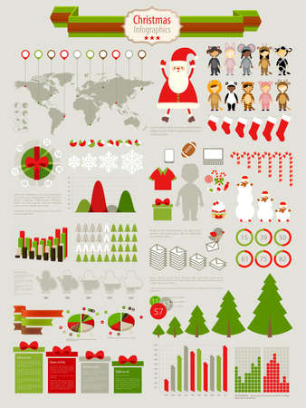 Christmas Infographic set with charts and other elements.   Vector