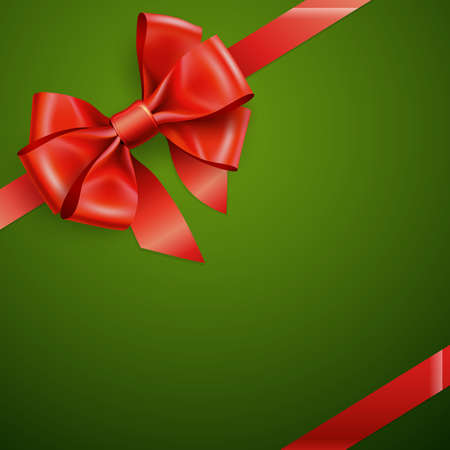 Christmas card - Red bow on green.  Vector