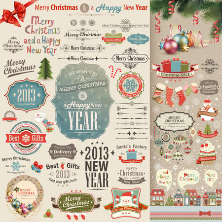 Christmas vintage Scrapbook set - labels, ribbons and other decorative elements illustration  Vector