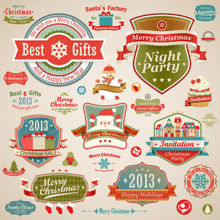 Christmas vintage set - labels, ribbons and other decorative elements   illustration  Vector