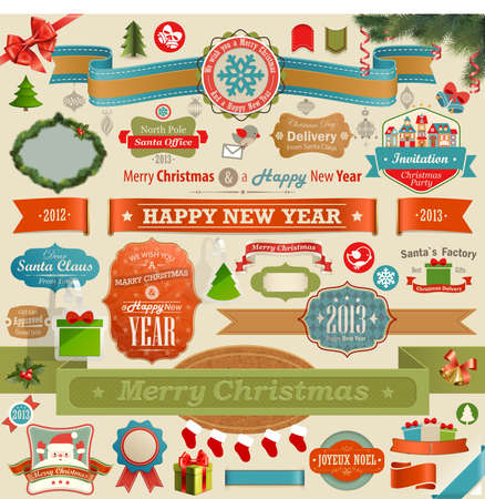 Christmas set - vintage ribbons, labels and other decorative elements   illustration  Vector