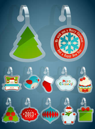 Set of ChriSet of Christmas stickersstmas stickers   illustration  Vector