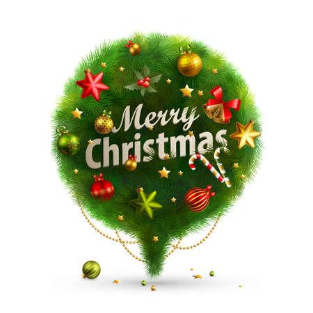 Christmas Bubble for speech - fir tree   illustration Stock Vector - 16441573