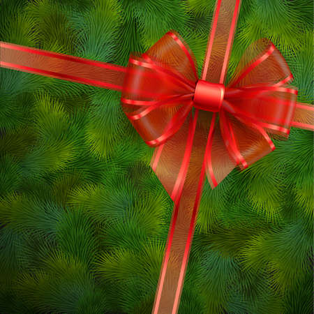 Christmas card - Red transparent bow on fir tree texture   illustration  Vector