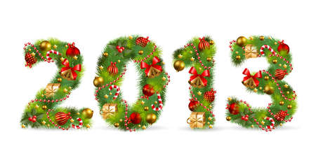 2013, Christmas tree font. illustration. Vector