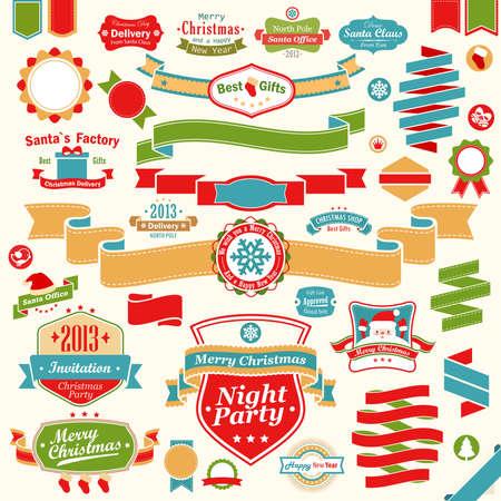 tipografia: Christmas set - cintas de colores, etiquetas y otros elementos decorativos. ilustraci�n.