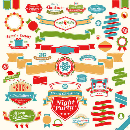 typography: Christmas set - colorful ribbons, labels and other decorative elements.  illustration.