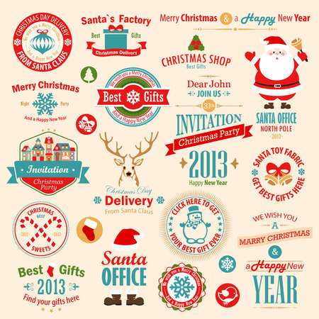 Christmas set - labels, emblems and other decorative elements.  illustration. Vector